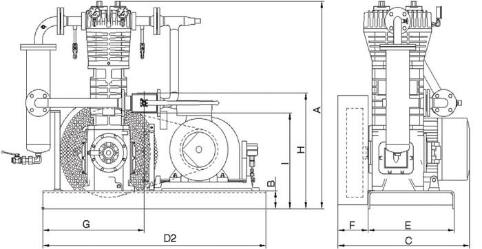 Размерная схема стационарных компрессорных агрегатов FAS.