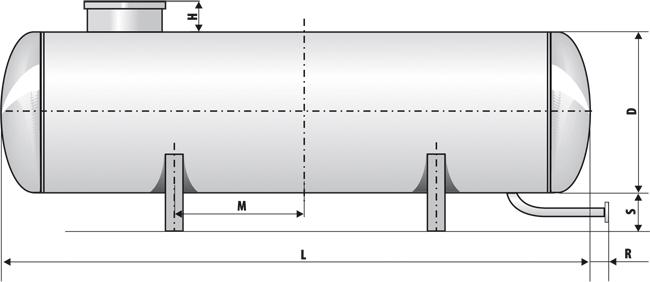 Размерная схема резервуара СУГ